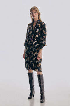Printed blouse and skirt and heeled boot set