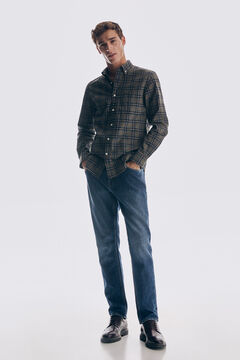 Set of checked shirt, jeans and urban shoes