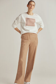 Conjunto de moletom com logotipo e calças de cintura alta