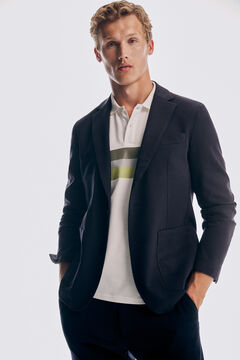 Knitted jacket and trousers and short-sleeved polo shirt set